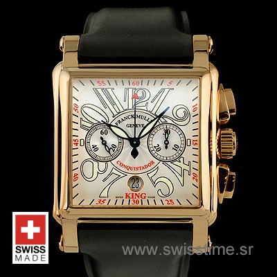 Franck Muller King Conquistador Cortez Chrono Rose Gold White