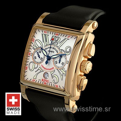 Franck Muller King Conquistador Cortez Chrono Rose Gold White-491