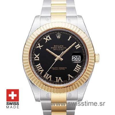 Rolex Datejust II 2Tone Black Roman-0