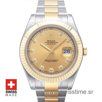Rolex Datejust II 2Tone Gold Diamonds-0