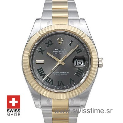 Rolex Datejust 2 Two Tone Watch | Green Roman Dial Watch