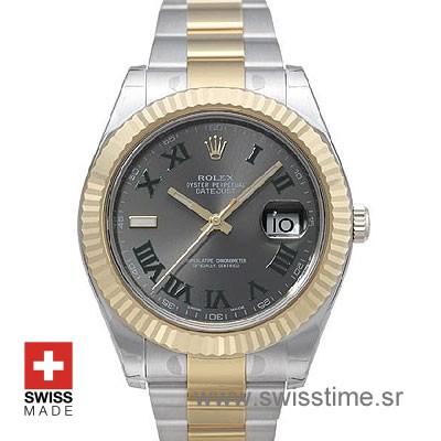 Rolex Datejust II 2Tone Green Roman-0