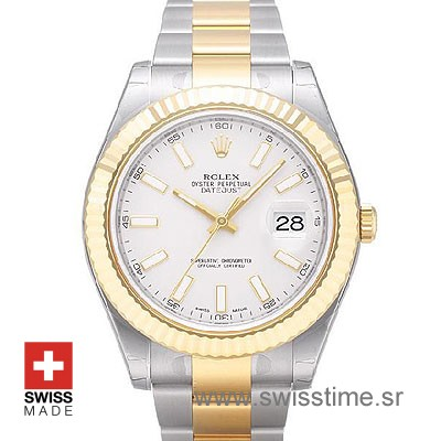 White Dial Rolex Datejust II Two Tone Watch