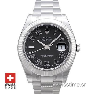 Rolex Datejust II SS Black Roman-0