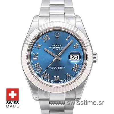 Rolex Datejust II SS Blue Roman-0