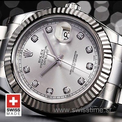 Rolex Datejust II SS Silver Diamonds-1461