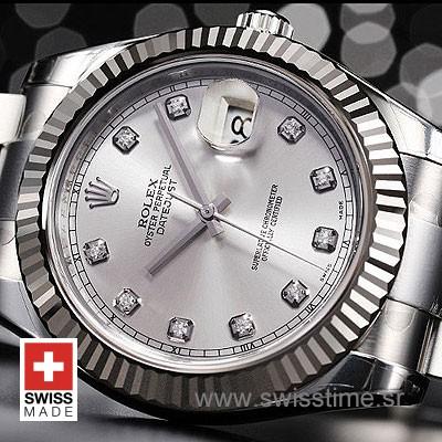 Rolex Datejust II SS Silver Diamonds-1461