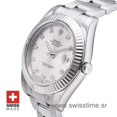 Rolex Datejust II SS Silver Diamonds-1458