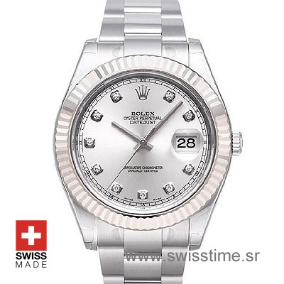 Rolex Datejust II SS Silver Diamonds-0