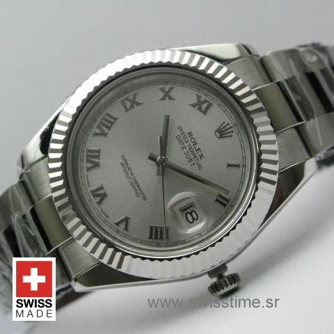 Rolex Datejust II SS Silver Roman-0