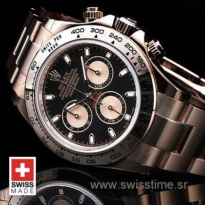 Rolex Daytona Rose Gold Black Dial   Luxury Replica Watch