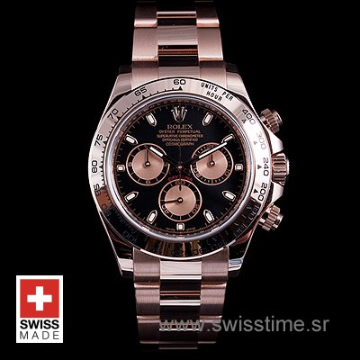 Rolex Daytona Rose Gold Black 40mm Swiss Replica
