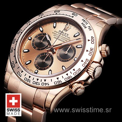 Rolex Daytona Rose Gold Gold 40mm Swiss Replica