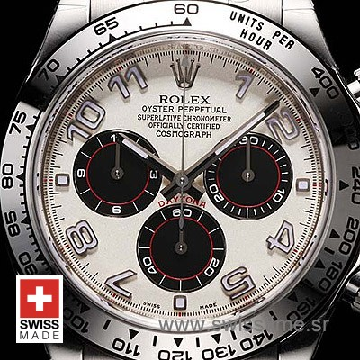Rolex Daytona SS White Arabic Swiss Replica 40mm