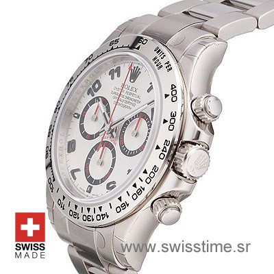 Rolex Daytona SS White Arabic Red Needles 40mm Swiss Replica