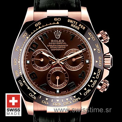 Rolex Daytona Leather Rose Gold Chocolate Ceramic 40mm Swiss Replica