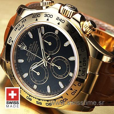 Rolex Daytona Gold Black Dial Brown Leather   Swisstime Watch