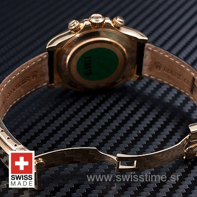 Rolex Daytona Leather Gold Black 40mm Swiss Replica