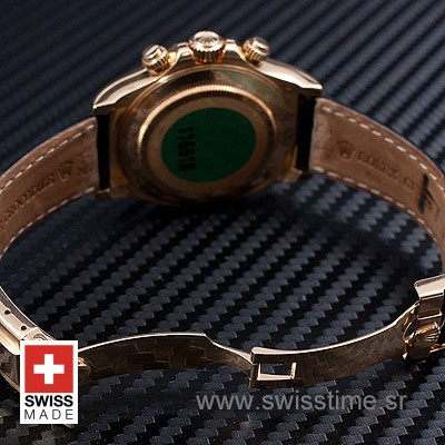 Rolex Daytona Leather Gold Black Diamond-1654