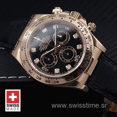 Rolex Daytona Leather Gold Black Diamond-1653