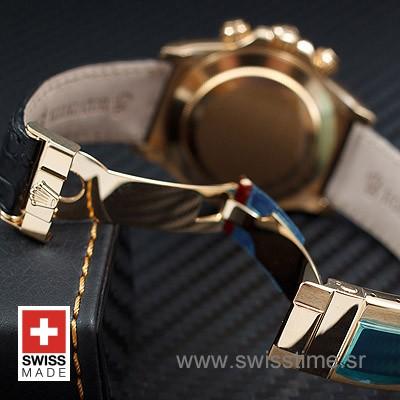 Rolex Daytona Leather Gold Black Diamond-1656