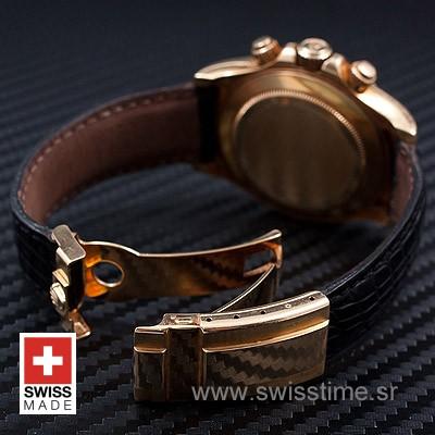 Rolex Daytona Leather Gold Black Gold-1662