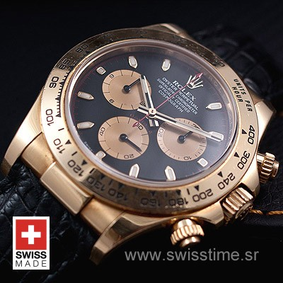 Rolex Daytona Leather Gold Black Gold-1660