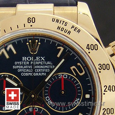 Rolex Daytona Leather Gold Blue-1668