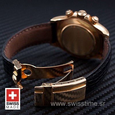 Rolex Daytona Gold Blue Dial Leather Strap   Swisstime Watch