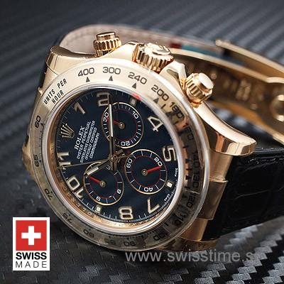 Rolex Daytona Gold Blue Dial Leather Strap | Swisstime Watch