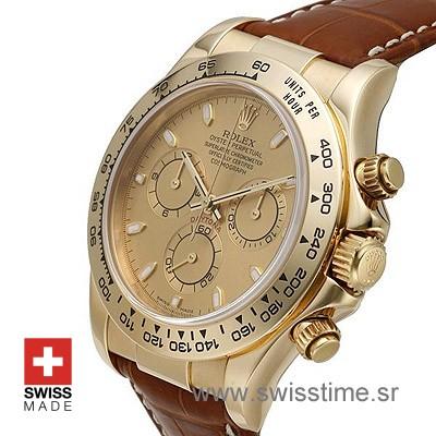 Rolex Daytona Gold Dial Leather Strap | Gold Replica Watch
