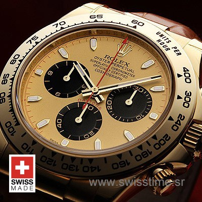 Rolex Daytona Leather Gold Gold Black-1681