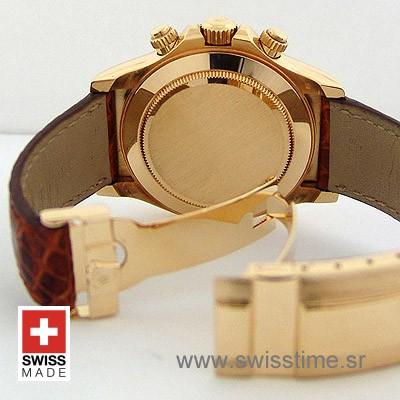 Rolex Daytona Gold Dial Leather Strap   Gold Replica Watch