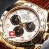 Rolex Daytona Brown Leather Strap | Yellow Gold Replica Watch