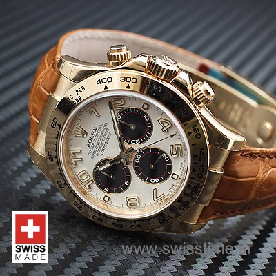 Rolex Daytona Leather Gold White 40mm Swiss Replica
