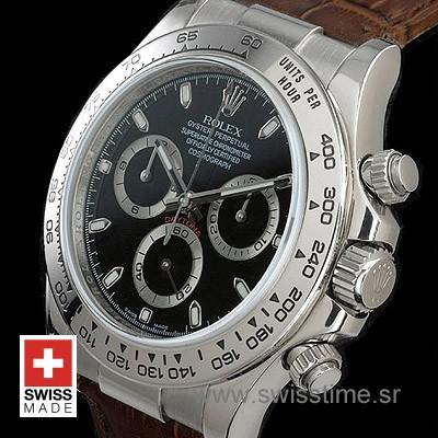 Rolex Daytona Leather SS Black-1707
