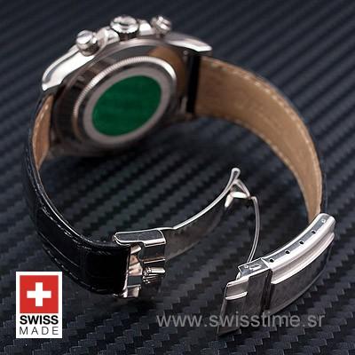 Rolex Daytona Black Dial Leather Strap   Swisstime Watch