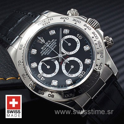 Rolex Daytona Leather SS Black Diamonds-1713