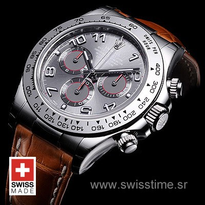 Rolex Daytona Leather SS Grey Arabic-1720