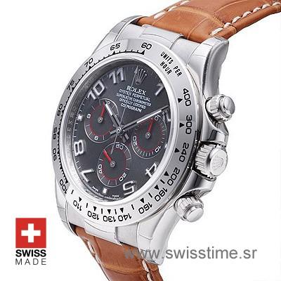 Rolex Daytona Grey Dial Leather Strap   Exact Replica Watch