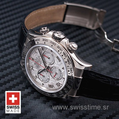 Rolex Daytona Meteorite Dial Leather Strap | Swisstime Watch