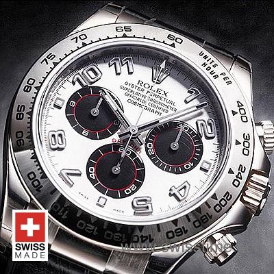 Rolex Daytona Brown Leather Strap | White Gold Replica Watch
