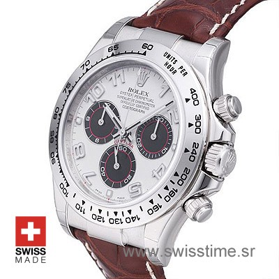 Rolex Daytona Leather SS White-1735