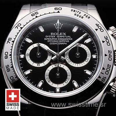 Rolex Daytona SS Black 40mm Swiss Replica