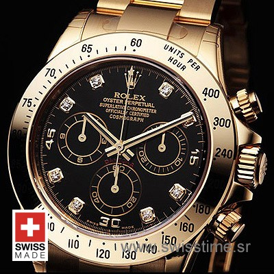 Rolex Daytona Gold Black Diamonds-1595