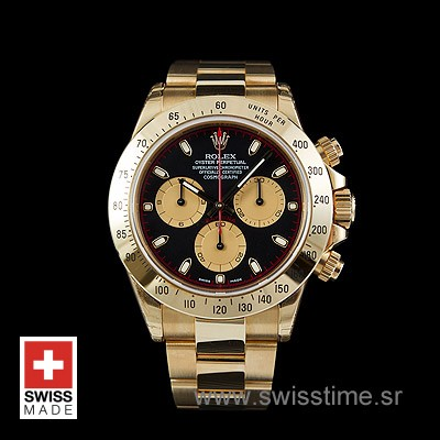 Rolex Daytona Gold Black Gold 40mm Swiss replica