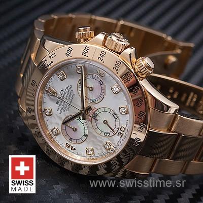Rolex Daytona Yellow Gold White Dial | Diamond Replica Watch