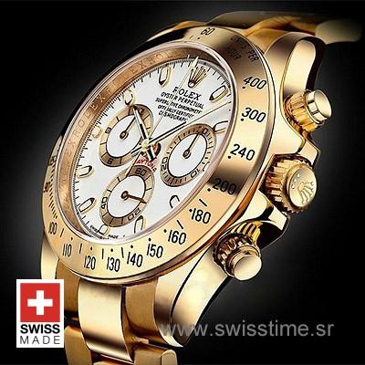 Rolex Daytona Yellow Gold White Dial   Luxury Replica Watch
