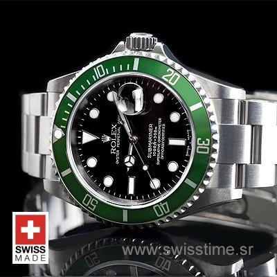 Rolex Submariner SS Green Bezel Swiss Replica