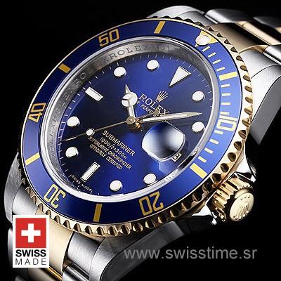 Rolex Submariner 2 Tone Blue Dial   18k Gold Replica Watch